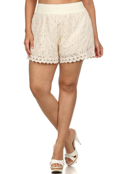 Livin In Lace Lace Shorts - Plus Size  in Black or Ivory