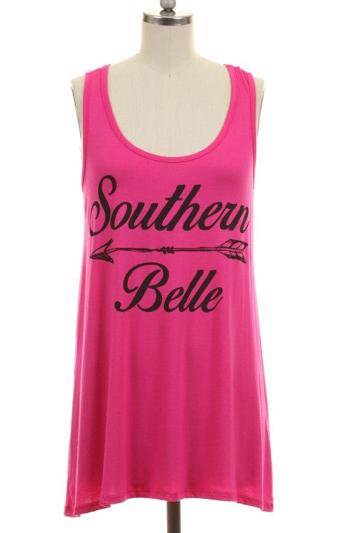 Southern  Belle Hot Pink Tank Top - Also in Plus Size