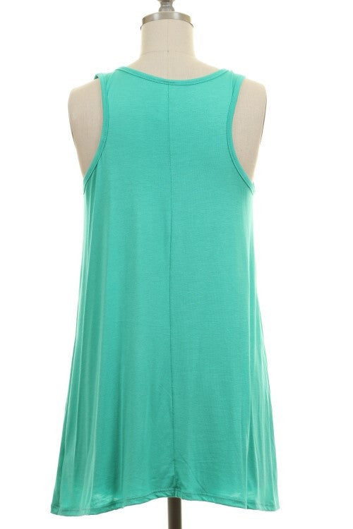 Southern  Belle Turquoise Tank Top - Also in Plus Size