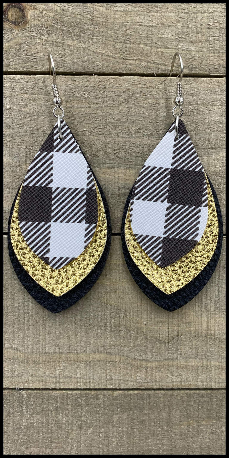 Menzies Buffalo Plaid Gold Earrings