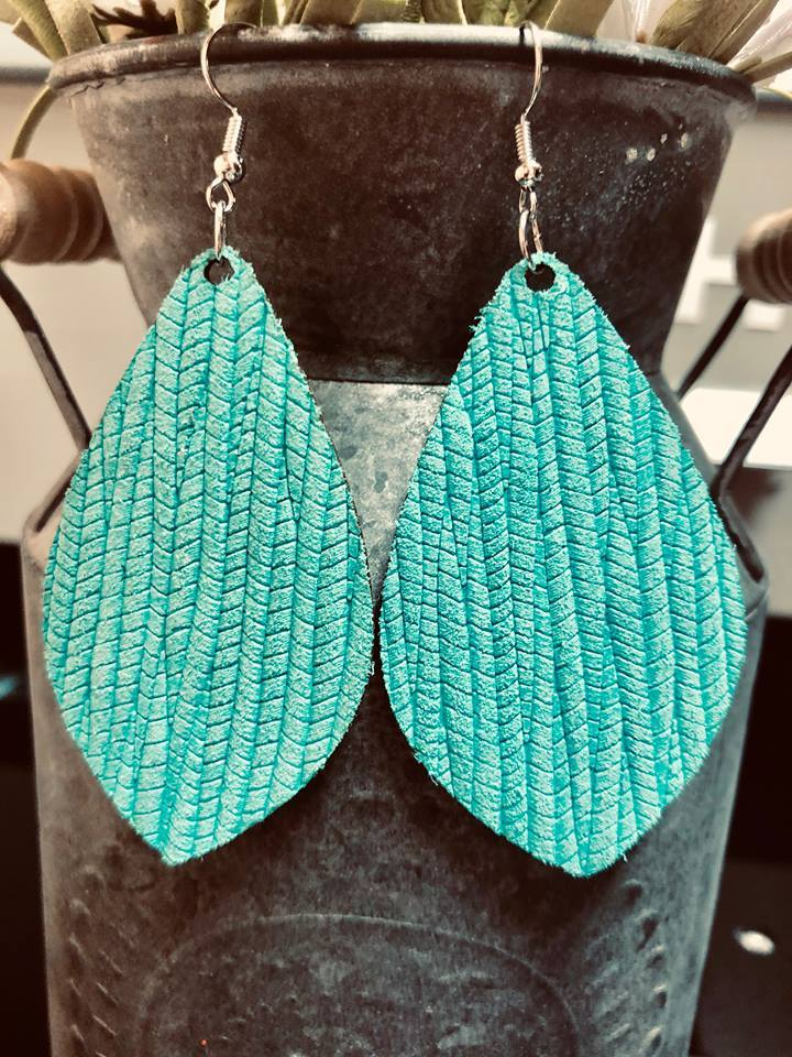 Sedona Turquoise Leather Earrings