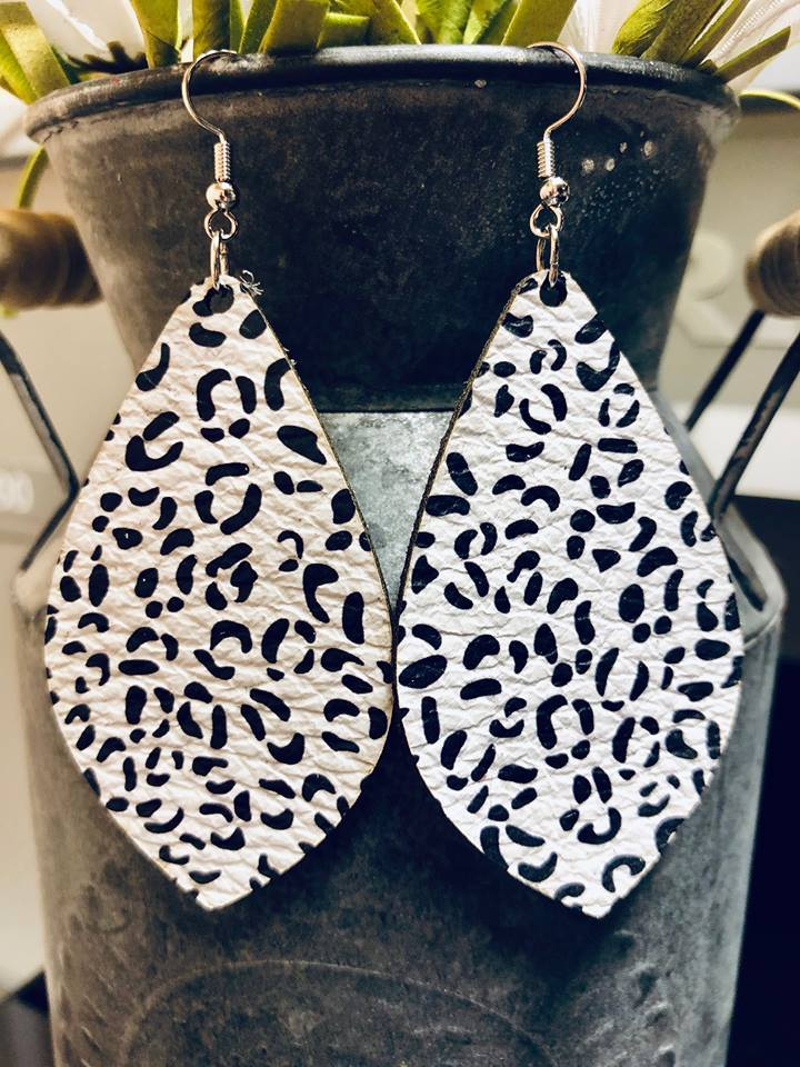 Lauderdale Leopard Leather Earrings