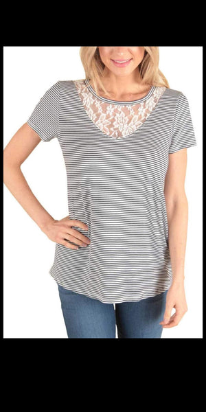 Leddy Stripe Lace Yoke Top