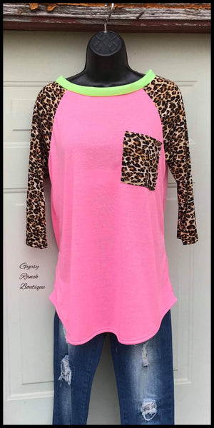 Lorissa Jo Leopard Neon Pink Top - Also in Plus Size