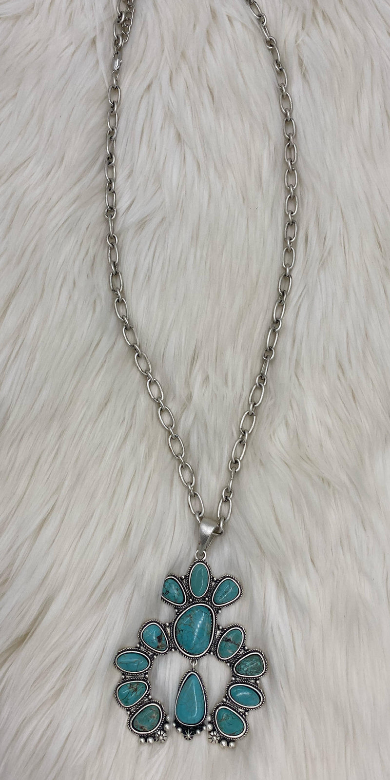 Bracee Turquoise Squash Blossom Necklace