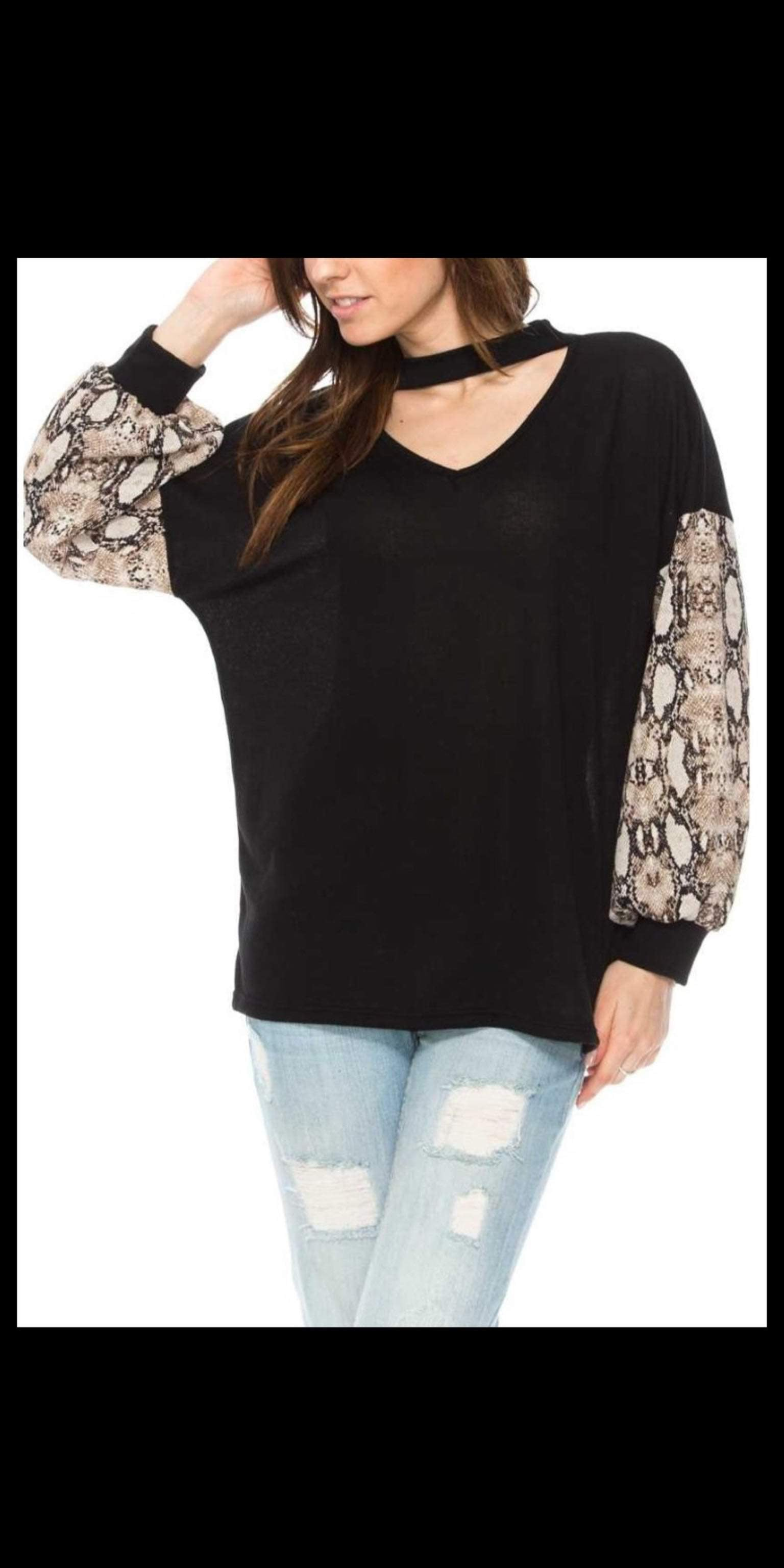 Rosewood Snakeskin Bubble Top - Also in Plus Size