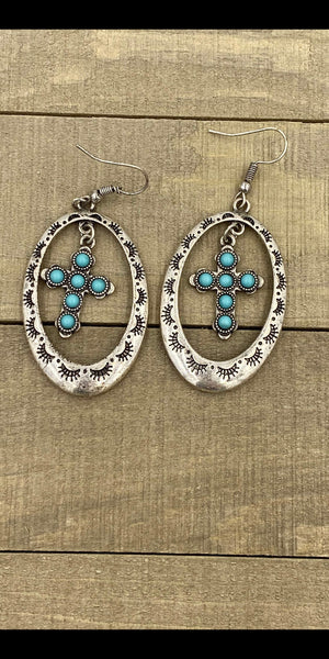 Abby Cross Turquoise  Earrings
