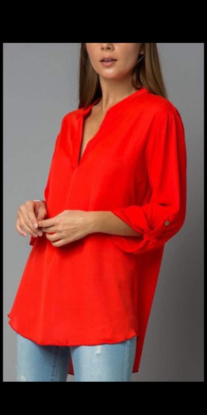 Easy Like Sunday Morning Red Roll Tab Top-Also in Plus Size