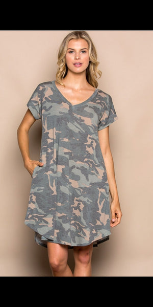 Mckee Camo Dress - Also in Plus Size