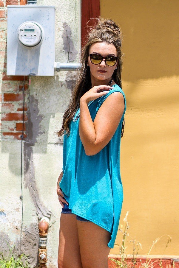 Charmed in Turquoise Hi Lo Top