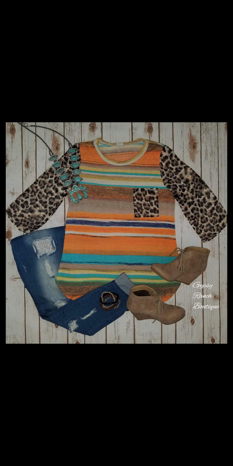 Charity Serape Leopard Top - Also in Plus Size