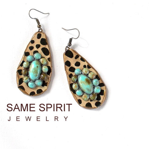 Bronson Leopard Turquoise Earrings