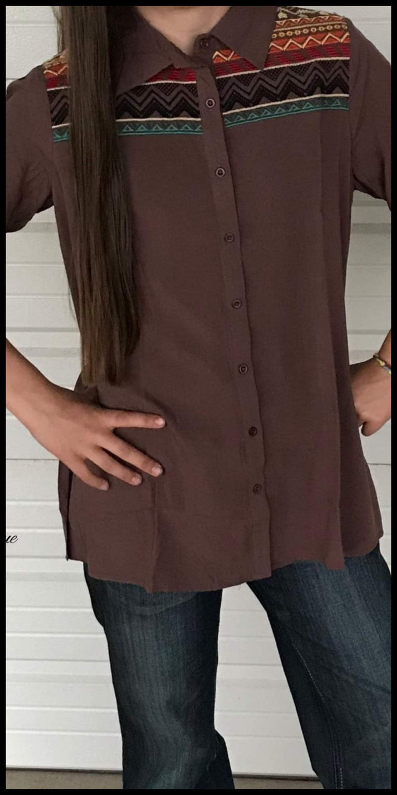 Randall Embroidered Mocha Top - Also in Plus Size