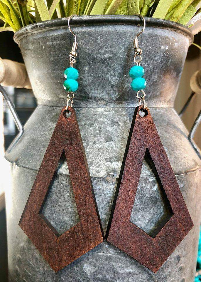 Twitty Wood Turquoise Earrings