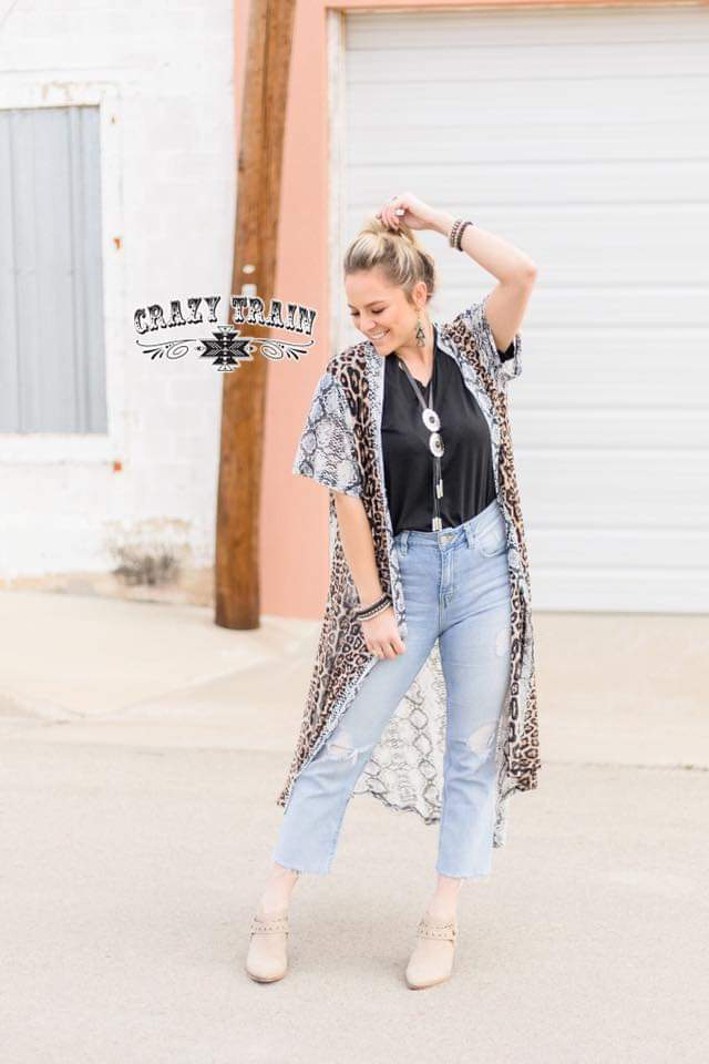 Desert Darlin Leopard & Python Duster Caridgan - Also in Plus Size