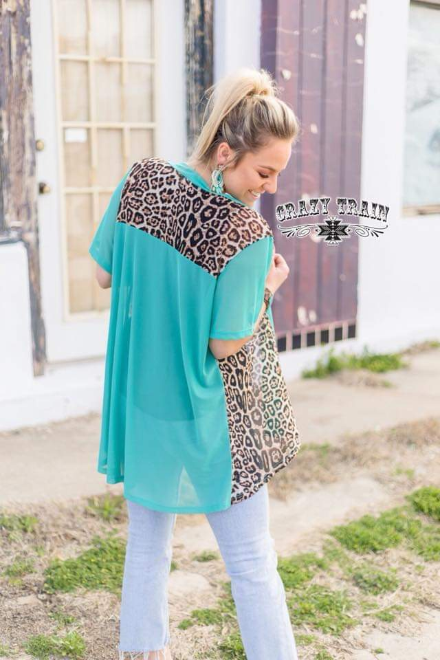 Raina Turquoise & Leopard Caridgan - Also in Plus Size