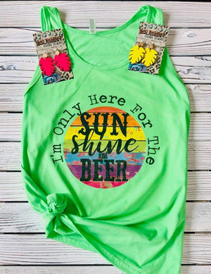 Im Just Here For The Sunshine & Beer Tank Top - Also in Plus Size