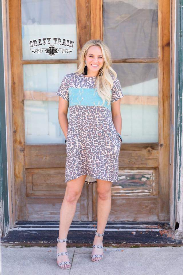 Cripple Creek Turquoise Leopard Dress - Also in Plus Size