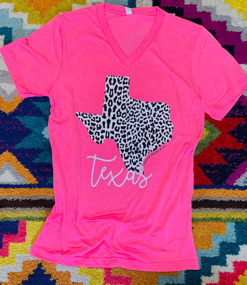 Neon Pink Snow Leopard Texas Top - Also in Plus Size