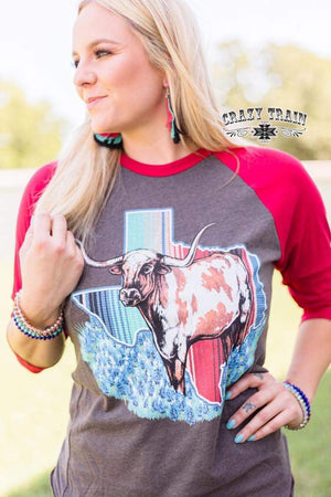 Texas Longhorn Raglan Top - Also in Plus Size