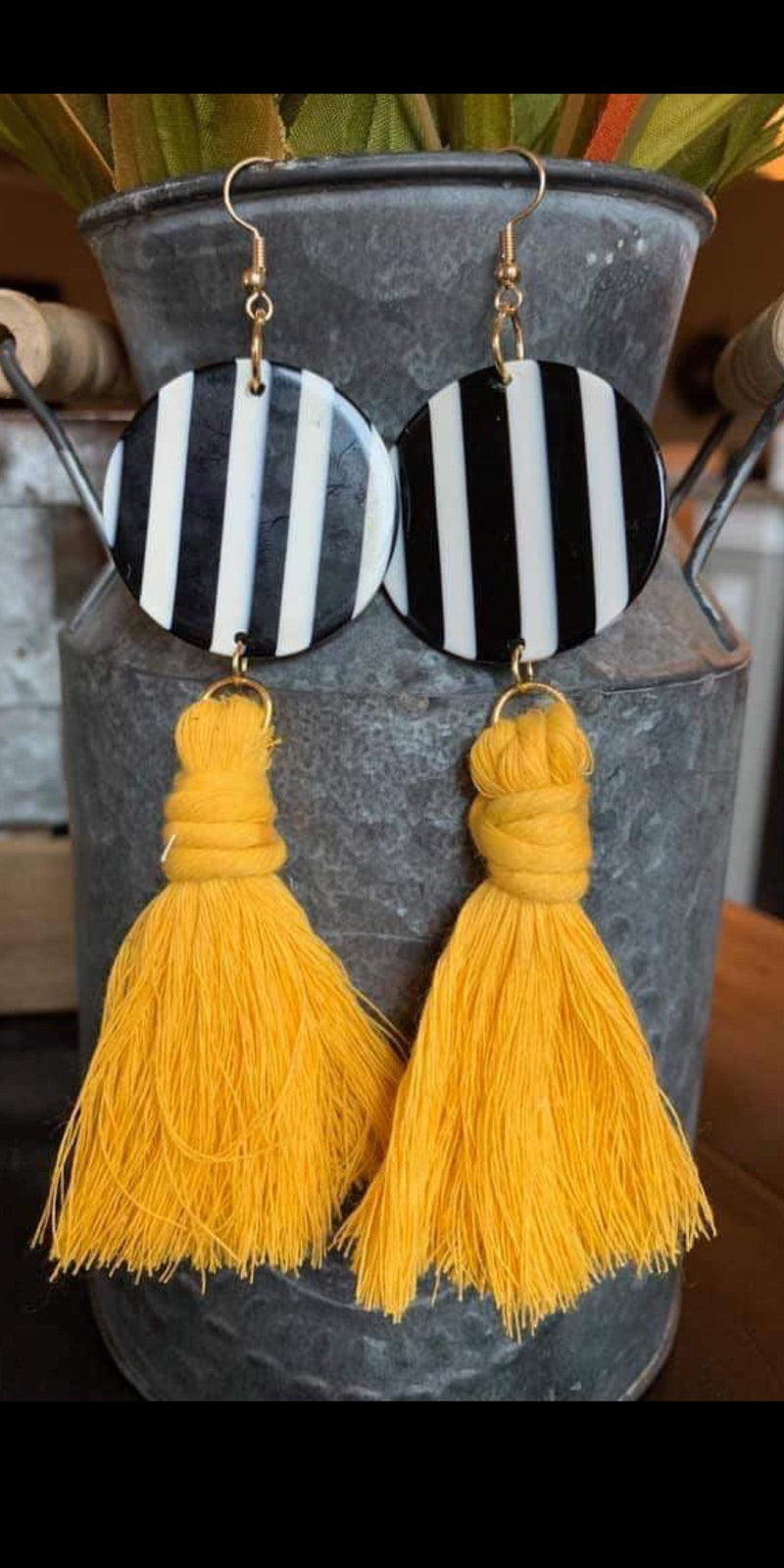 Wheeler Stripe Mustard Earrings