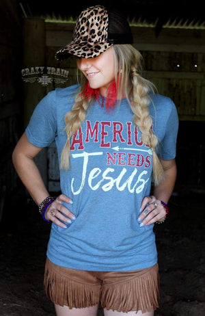 America Needs Jesus Top - Also in Plus Size