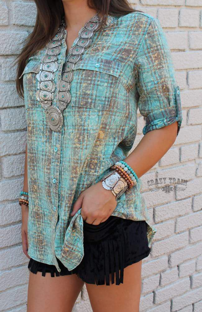Loretta Lynn Distressed Turquoise Tunic Top - Also in Plus Size