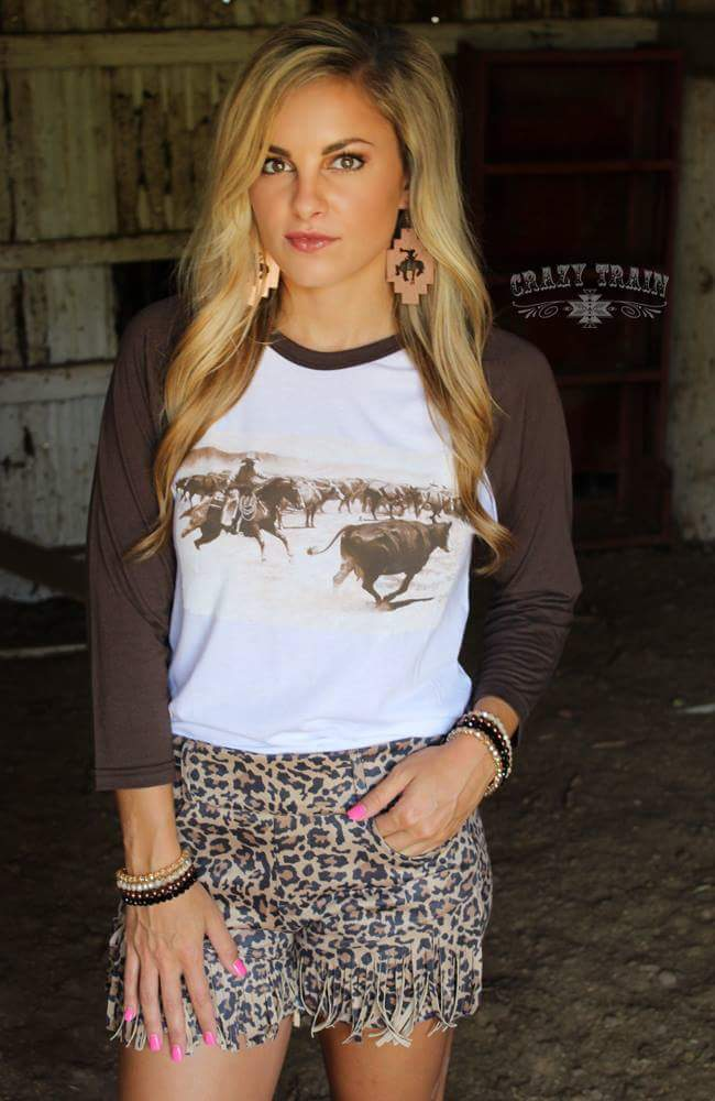 Cuttin Cowboy Raglan Top - Also in Plus Size