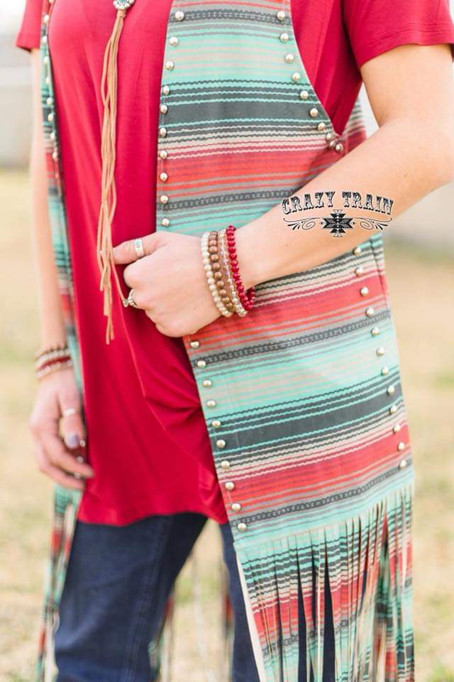 Firewater Serape Fringe Vest - Also in Plus Size