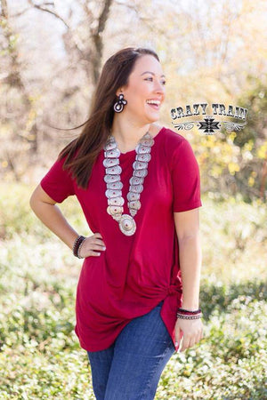 Dark Red Knotty Top - Also in Plus Size
