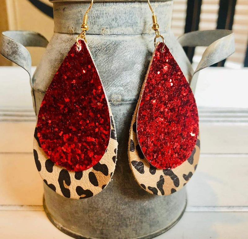 Carrie Red Glitter Leopard Leather Earrings