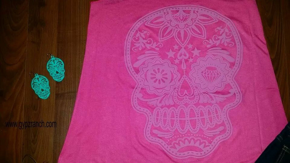 Jewel Sugar Skull Pink Tank Top