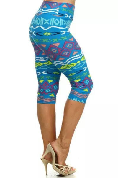 Chase This Chic Tribal Capri Leggings - Plus Size