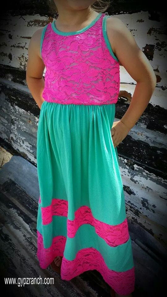 Kids - Make Me Believe Neon Pink Maxi Dress