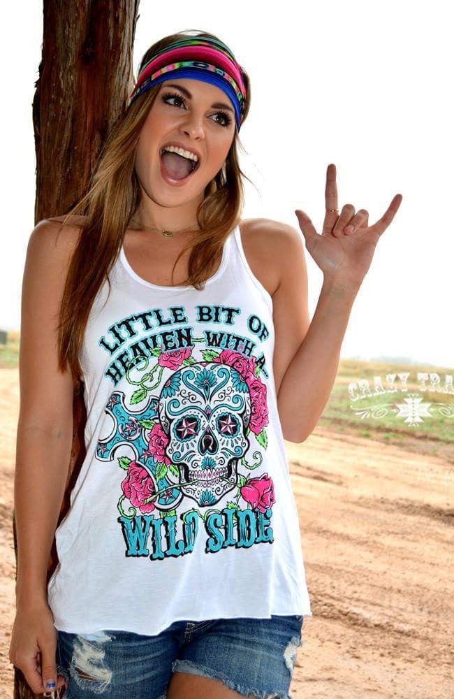 Wild Side Sugar Skull Tank Top - Also in Plus Size