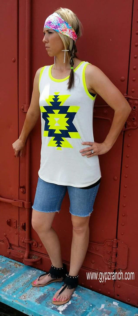 There She Goes NEON Tribal Tank - Also in Plus Size