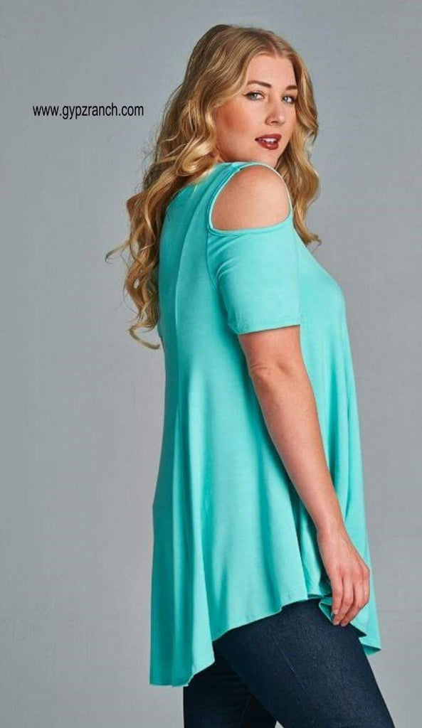 Bristal Peep Shoulder Top - Also in Plus Size
