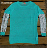 Northern Prancer Mint with Sequin Arm Detail