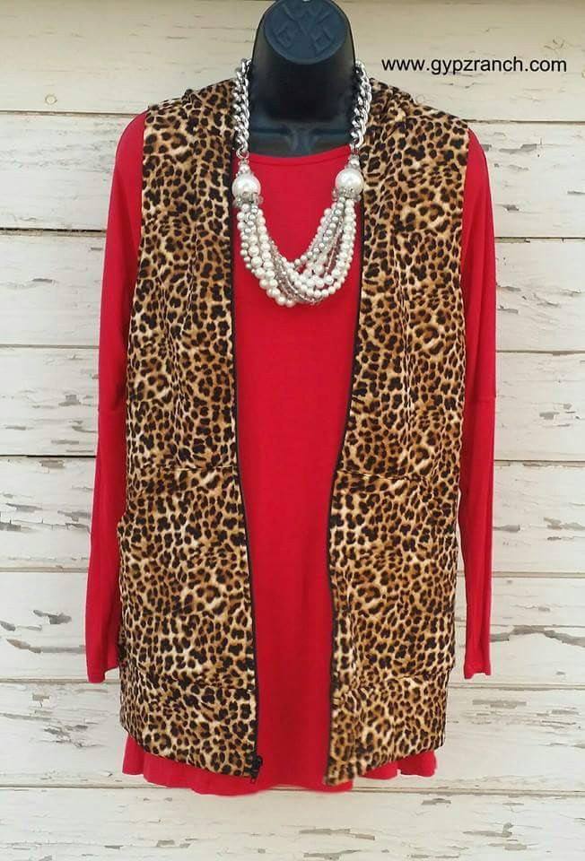 Leopard Express Hooded Vest - Also in Plus Size