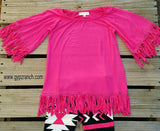 Kids - Sweet Secrets Hot Pink Fringe Tunic Top