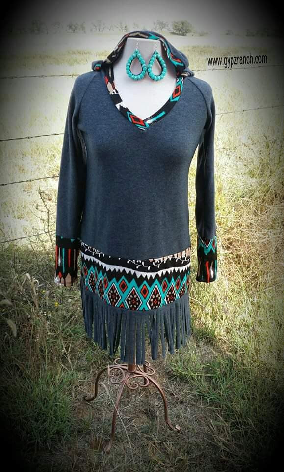 Stormin Stone Fringe Top - Also in Plus Size