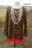 Easy Does It Leopard Top Red Lace Tunic Top