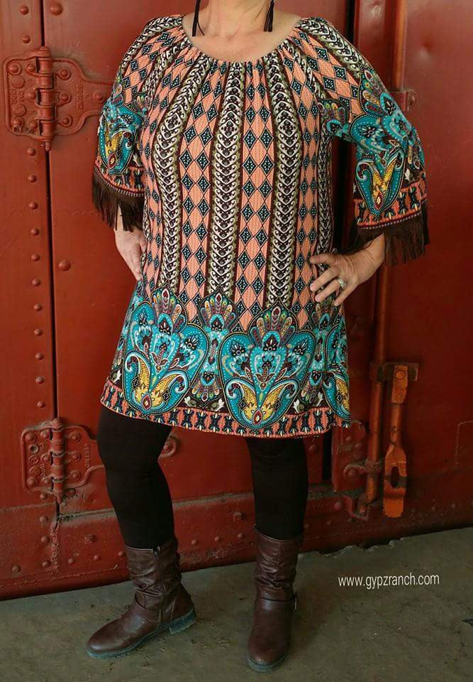 Valiant Hero Paisley Fringe Tunic Dress - Also in Plus Size