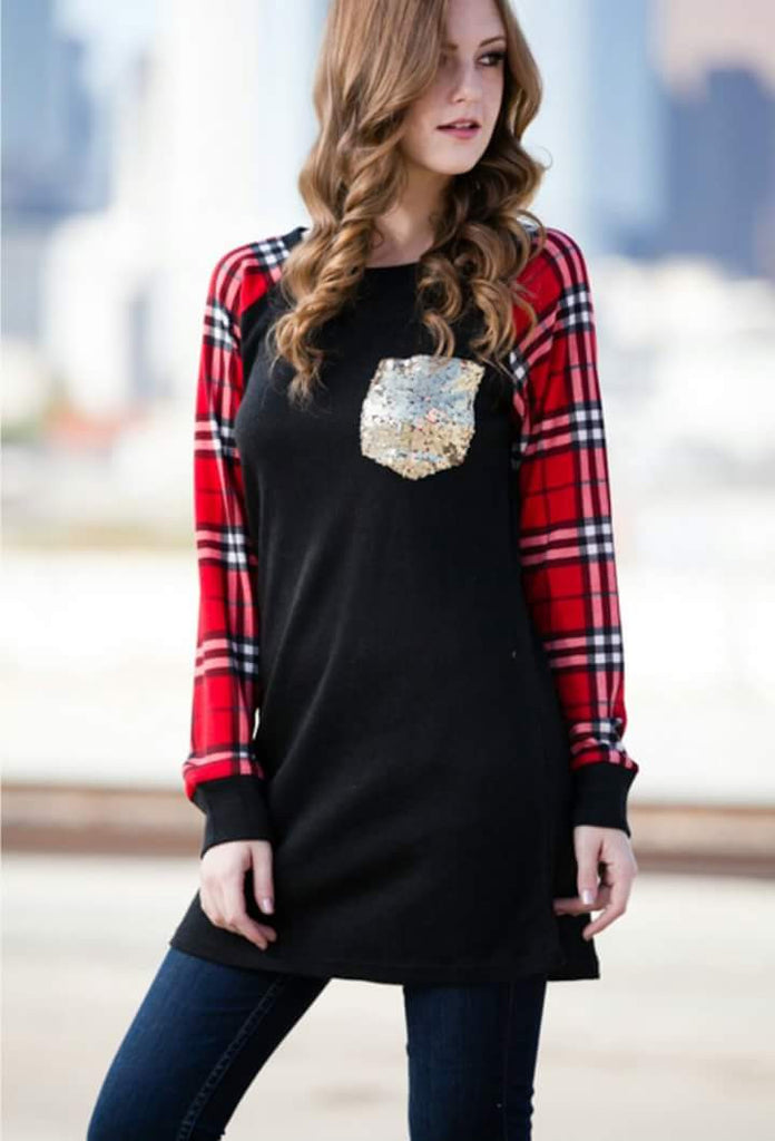 Struck By Plaid Sequin Pocket Top