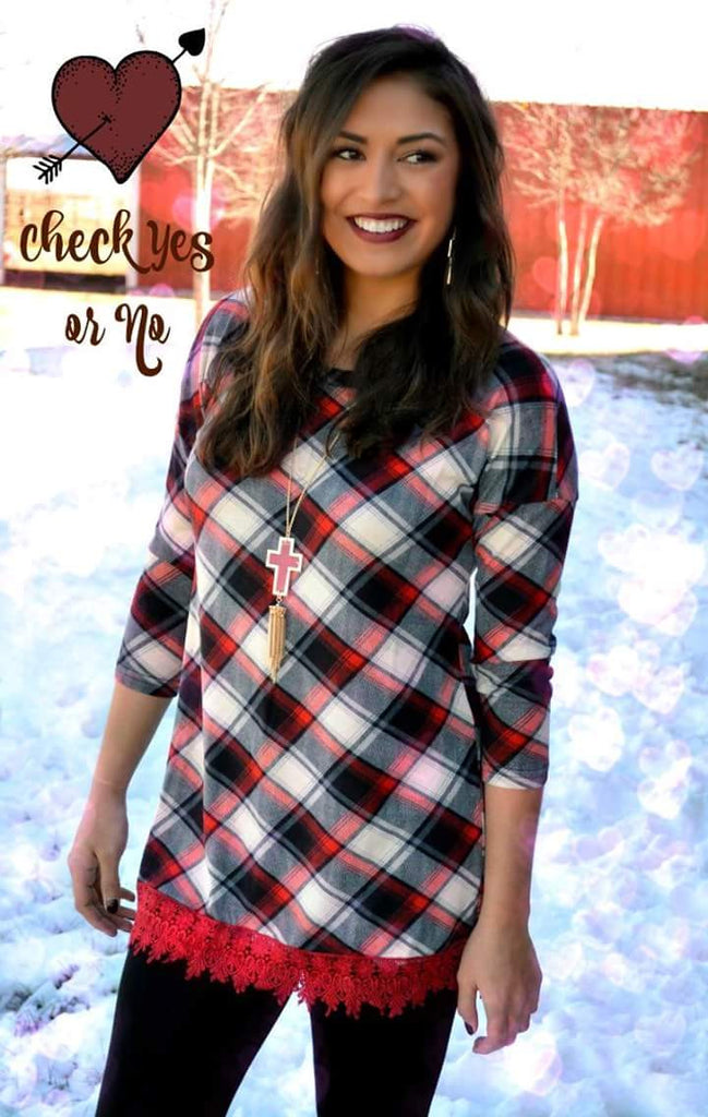 Check Yes Or No Plaid Tunic Top - Also in Plus Size