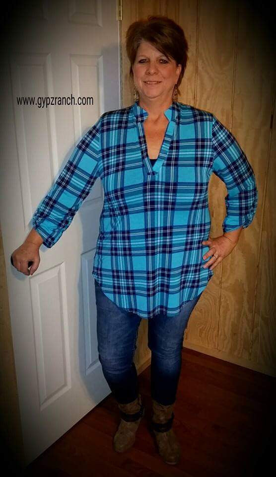 Flashback in Plaid Turquoise Top - Also in Plus Size