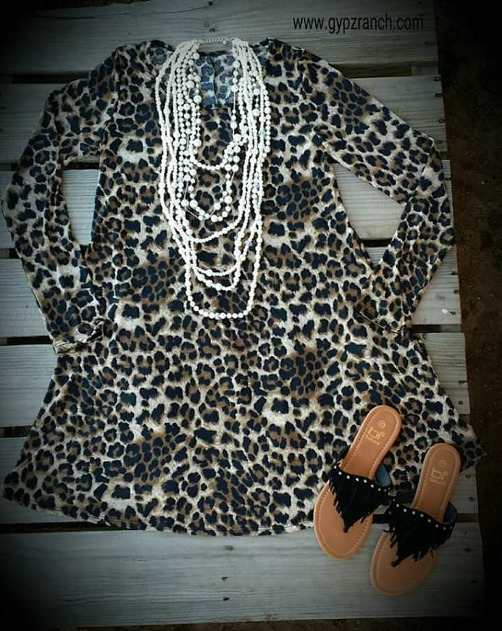 Steal My Heart Leopard Tunic Dress Top