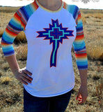Way Out West Serape Cross Baseball Top - Also in Plus Size