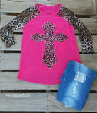 Cross My Leopard Heart Pink Top