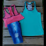 Diva Dashing Floral Racer back Tank Top- Mint or Coral